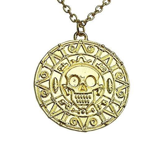 Caribbean Pirate's Treasure Aztec Skull Coin Medallion Necklace