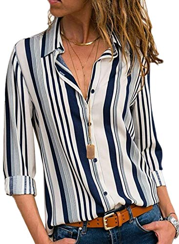 Chemise d'automne Manches Femme T Avanon Blouse pour Longues Shirt Shirt Longues Rayures Manches Blanc UdFzwq6