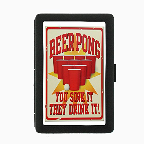 Beer Pong Sink Drink (Perfection In Style Black Color Metal Cigarette Case D-242 Beer Pong You Sink It They Drink)