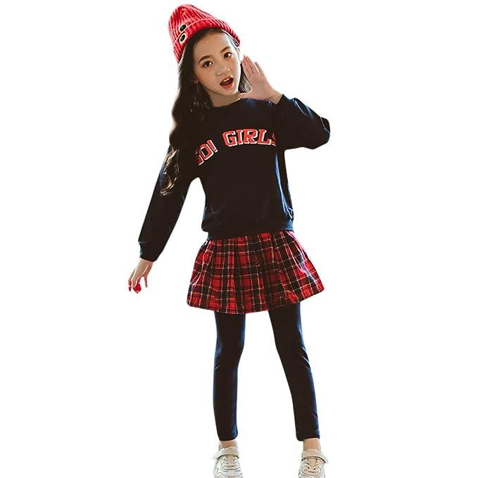 K-youth Niña Vestidos GO Girls Conjuntos de Vestido para Niñas Falda Plaid Casual para Niñas Tops Manga Larga para Niñas Traje Deportivo De Dos Piezas: ...