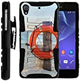 TurtleArmor | Sony Xperia Z2 Case | D6503 [Hyper Shock] Hybrid Rugged Kickstand Cover Carry Belt Clip Holster Hard Protector Silicone Ocean Beach Design - Life Preserver