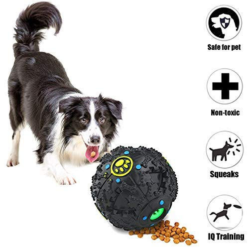 Cool Bear 3 in 1 Pet IQ Treat Ball Rubber Dog Chew Toy Dog Puzzle Toys Fun Sound to Keep Pet Entertained No Batteries…