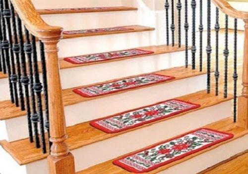 Set of 4! Festive Holiday Poinsettia Flower Decorative Christmas Stair Treads