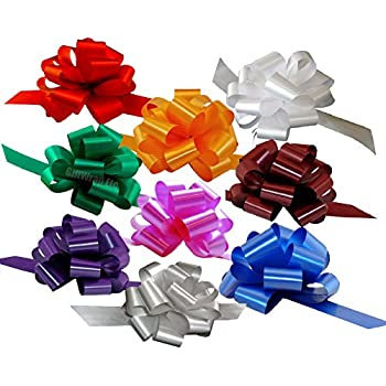 """Christmas Gift Wrap Pull Bows - 5"""" Wide, Set of 9, Red, Green, Blue, Gold, White, Silver, Birthday Ribbons"""