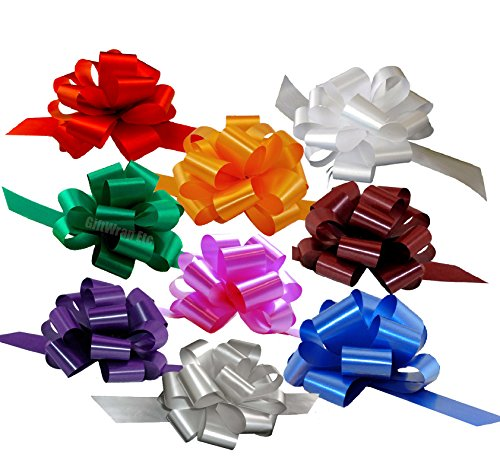 Christmas Gift Wrap Pull Bows - 5 Wide, Set of 9, Red, Green, Blue, Gold, White, Silver, Birthday Ribbons, Bows for Gifts, Christmas Presents