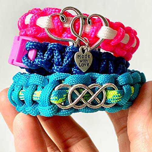 Hapinest Make Your Own Paracord Bracelets with Charms Kit – Arts and Crafts Gifts for Girls Ages 8 9 10 11 12 Years Old…