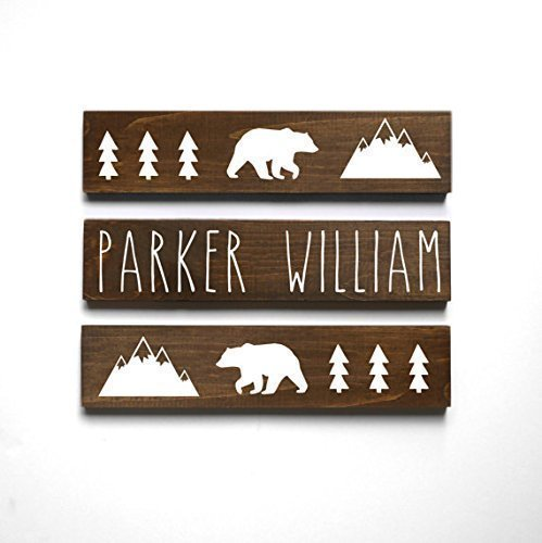 Personalized Baby Gift, Woodland Nursery Decor, Mountain Nursery Decor, Baby Bear Nursery Decor, Baby Name Sign, Set of 3 signs