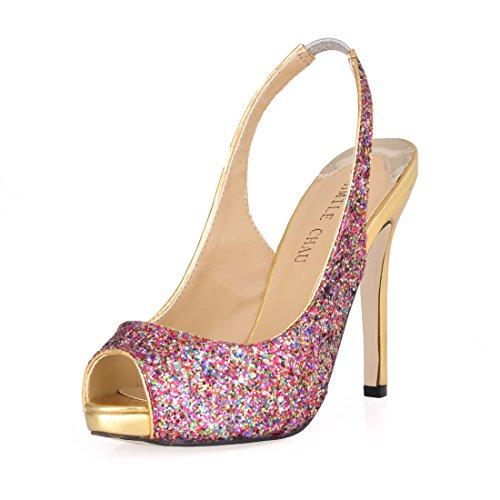 d493349d 80% OFF CHMILE Chau-Zapatos para Mujer-Bombas de Tacon Alto de Aguja-Talón  Delgado-Sexy-Novia o Dama-Boda-Nupcial-Vestido de Fiesta-Punta  Abierta-Hebillas y ...