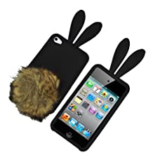 Bunny Cover Case for Apple iPod touch 4g, Black with Brown Tail