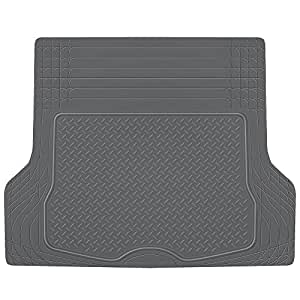 BDK HeavyDuty Rubber Cargo Floor Mat - All Weather Trunk Protection, Trimmable to Fit & Durable HD Rubber (Gray)