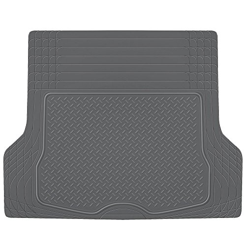 BDK MT785GRAMw1 Heavy Duty Rubber Cargo Floor Mat - All Weather Trunk Protection, Trimmable to Fit & Durable HD Rubber (Gray) ()
