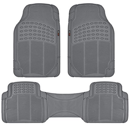 Motor Trend FlexTough Rubber Floor Mats for Car & SUV - 100% Odorless & All Weather Heavy Duty (Gray)