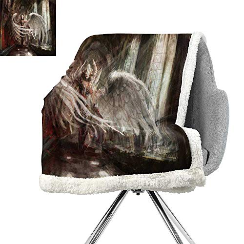 Warrior Ancient Sword - Fantasy House Decor Collection Berber Fleece Blanket,Cyborg Angel Girl Warrior with Sword in Gothic Ancient Historical Architecture,Brown White,for Bed,Couch,Sofa,Chair,W59xL47 Inch
