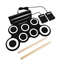 LeaningTech 7 Pads Electronic Roll Up Drum Pad Kit, Waterproof Silicone Foldable Digital Hand Roll Drum Set with Sticks & Foot Pedals, USB Powered, Support Computer Music Games, Black & White