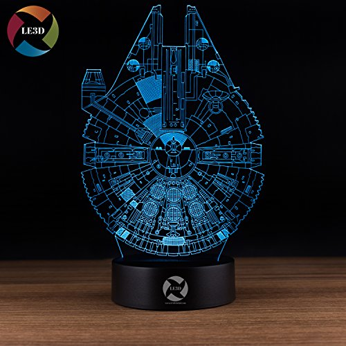 LE3D 3D Optical Illusion Desk Lamp/3D Optical Illusion Night Light, 7 Color LED 3D Lamp, Millennium Falcon 3D LED For Kids and Adults, Star Wars Light Up