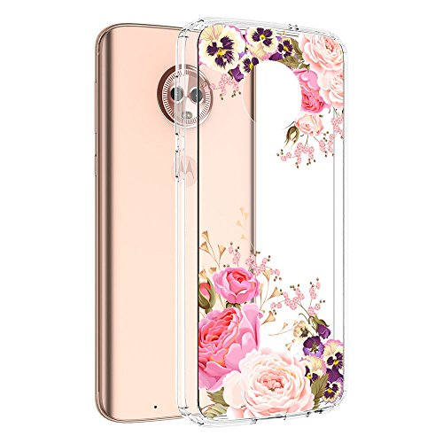 MOTO G6 Case, Vinve [Crystal Clear] Anti-Scratch Shockproof Cover Clear Hard Back Panel + TPU Bumper Slim Case for MOTO G6 (Peony) ()