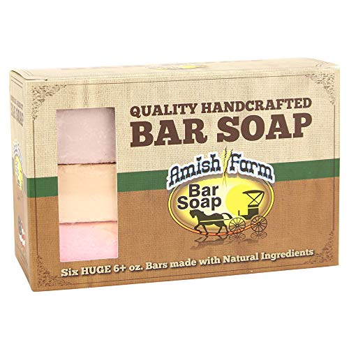 (Natural Bar Soap Amish Farms Hand Cut, Hand Crafted, Six HUGE 6 Ounce Bars Made in USA)
