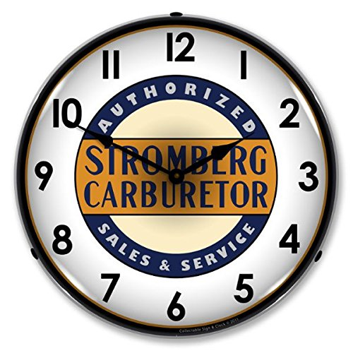Stromberg Carburetor Authorized Sales & Service LED Wall Clock, Retro/Vintage, Lighted, 14 inch