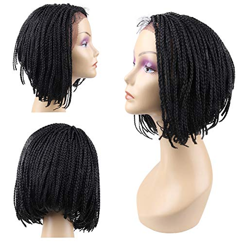 Jiayi Short Box Braided Lace Front Wigs Full Braids with Natural Side Bob A-line Hand-tied Part Half Hand-made 12 inch Glueless Braided Wigs for Black Women with Baby Hair for Daily Wear (1#)
