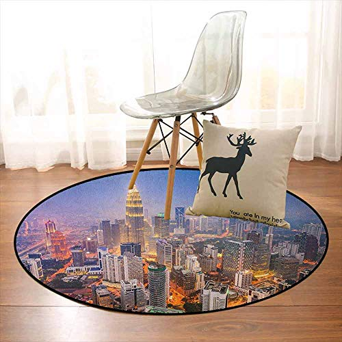 Urban Multifunction Modern City Skyline Business District Skyscraper Towers Kuala Lumpur Malaysia Non-Sliding Indoor Carpet D59 Inch Orange Yellow Blue
