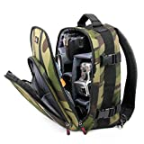 DURAGADGET Camouflage Water-Resistant Rucksack/Backpack with Customizable Interior & Raincover - Suitable for Polaris Optics WideViews - 8X42 HD Binoculars
