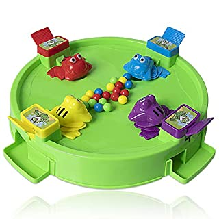 HomeMall Hungry Frogs Family Board Game, 4 Player Frog Toy Eat Beans Desktop Games for Kids 3 Years and Older