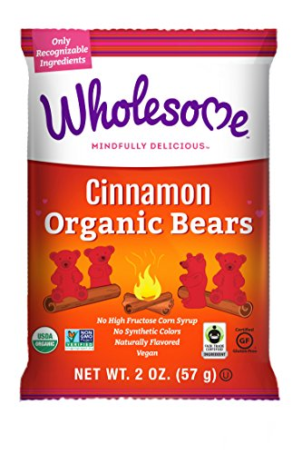 Wholesome Fair Trade Organic Cinnamon Bears, No Artificial Colors or High Fructose Corn Syrup, Non GMO & Gluten Free, Vegan, 2 oz (Pack of 12)