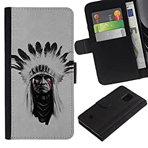 Billetera de Cuero Caso Titular de la tarjeta Carcasa Funda para Samsung Galaxy S5 Mini, SM-G800, NOT S5 REGULAR! / Indian Man Native American Face Painting / STRONG