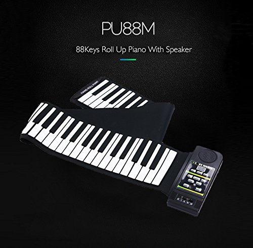 88 keys portable digital keyboard and sustain pedal of soft mini roll up piano by YARUIFANSEN