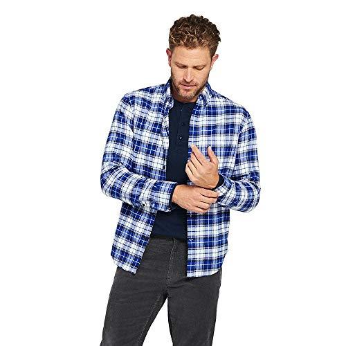 Lands' End Men's Traditional Fit Flagship Flannel Shirt, M, Mazarine Blue/White Plaid from Lands' End