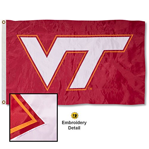 Virginia Tech Hokies Banner Flag - Virginia Tech Hokies Maroon Embroidered and Stitched Nylon Flag
