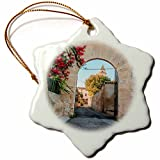 3dRose Danita Delimont - Architecture - Spain, Balearic Islands, Mallorca, church gateway. - 3 inch Snowflake Porcelain Ornament (orn_277909_1)