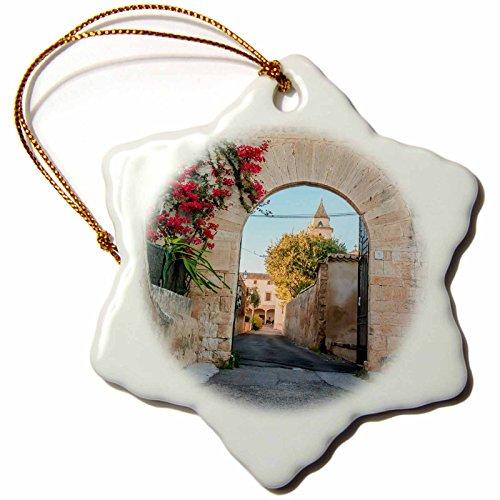 3dRose Danita Delimont - Architecture - Spain, Balearic Islands, Mallorca, church gateway. - 3 inch Snowflake Porcelain Ornament (orn_277909_1) by 3dRose