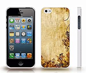 iStar Cases? iPhone 4 Case with Floral and Leaf Pattern, Faded Yellows and Browns on a Textured Background , Snap-on Cover, Hard Carrying Case (White)
