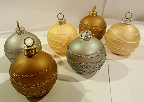 Set of 6 Glass Glitter Christmas Ornament Place Card Holders