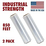 18 X 850 Tough Pallet Shrink Wrap, 80 Gauge 18 inch X 850 Feet Industrial Strength, Commercial Grade Strength Film, Moving & Packing Wrap, for Furniture, Boxes, Pallets (2-Pack)