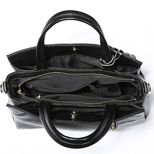 Black Dissa Multiple Leather Bag Soft Pockets Handbags Women Q0714 Shoulder zzwpqav