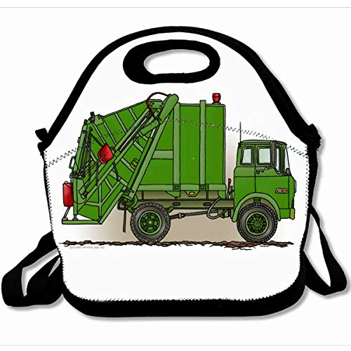 Ahawoso Reusable Insulated Lunch Tote Bag Green Garbage Trucks Retro 10X11 Zippered Neoprene School Picnic Gourmet Lunchbox
