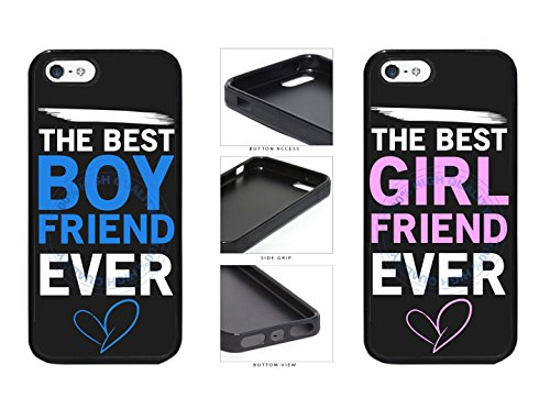 BleuReign(TM) Set Of 2 The Best Boyfriend Girlfriend Ever TPU RUBBER SILICONE Phone Case Back Cover For Apple iPhone 5 5S