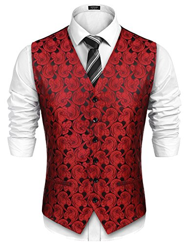 COOFANDY Men Paisley Design Dress Vest Floral Waistcoat for Suit Tuxedo Wedding,Red,Large