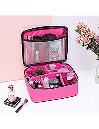 MeterMall - Bolsa de Maquillaje Multiusos Profesional, Impermeable, Grande, con asa de Almacenamiento, Organizador para Viaje, Rose Red Net Pocket