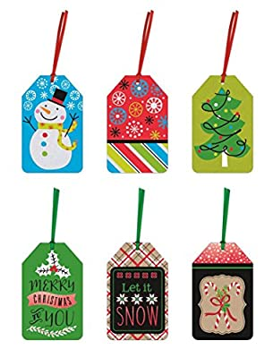 Pack of 36 Christmas Gift Tags - 6 Different Designs Xmas Gifting Tags