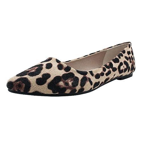 uirend Zapatos Mujer Mocasines - Pisos Gamuza Acentuado Estampado Leopardo Informal Confort Ballet Slip-on