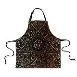 iPrint Kitchen Apron,Gold Mandala,Large Asian Flower Spiritual Harmony Theme Arabian Artistic Elements,Gold Black Yellow,Fashion Apron.29.5''x26.3''
