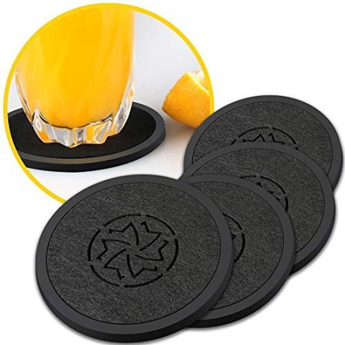 DAXANZ Rubber Felt Coasters,Absorbs Moisture and Prevents Table Damage,Modern Coaster with Non-Slip Multi-Use: Trivet, Jar Opener, Soap Dispenser Holder, Drink Protector,Tabletop Protection(NO HOLDER)