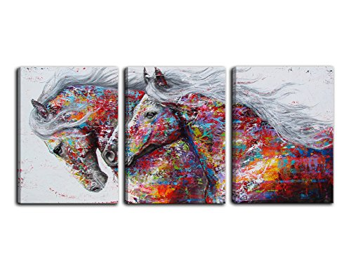 AMEMNY 3 Panel Large Printed Graffiti Canvas Art Horse Oil Paintings Wild Animals Prints Poster with Vivid Color for Bedroom Decor Framed Ready to Hang