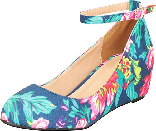Cambridge Select Women's Ankle Strappy Buckle Round Closed Toe Wrapped Wedge,11 M US,Floral