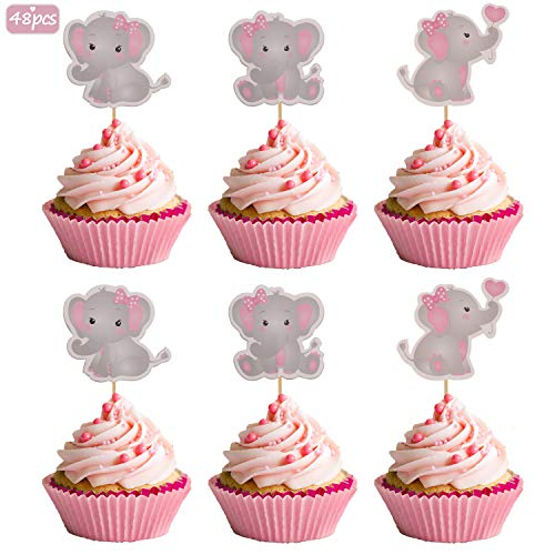 Baby Shower Cupcakes For Girl (Pink Elephant Cupcake Toppers It Is A Girl Baby Shower Cupcake Picks Decoration Baby Girl Birthday Party Supplies)