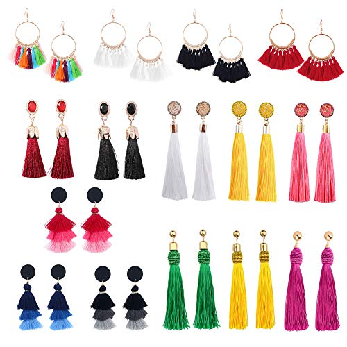 15 Pairs Tassel Earrings for Women Girls Bohemian Fringe Earrings Layered Long Thread Dangle Earrings