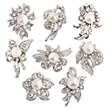 8 pcs Rhinestone Brooch Lot Wedding Invitation Brooch Bouquet (Silver)